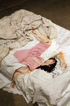 "Fiber art by Joetta Maue, ""Waking with you?"" 2010, hand embroidered, appliquéd and painted reappropriated linen and queen size bed (Akira Suwa, photographer) FiberPhiladelphia"