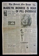 Marilyn Monroe Death Newspaper, dated Aug 1962 Hollywood Not a reprint Jfk And Marilyn, Marilyn Monroe Death, Marilyn Monroe Artwork, Trivia Of The Day, Monroe Quotes, Newspaper Headlines, Star Wars, Rare Images, Norma Jeane