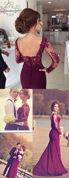DIYouth.com Mermaid Evening Gowns Dark Red Long Sleeves Lace Open Back Long Wedding Party Dresses