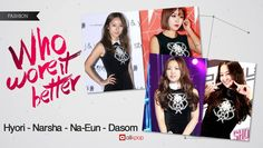 Who Wore it Better: Lee Hyori vs. Na-Eun vs. Narsha vs. Dasom | http://www.allkpop.com/article/2015/01/who-wore-it-better-lee-hyori-vs-na-eun-vs-narsha-vs-dasom