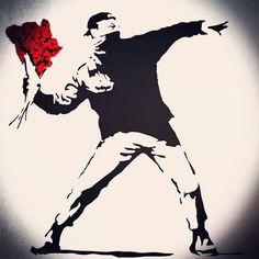 Bansky, Banksy Art, Banksy Tattoo, Freedom Art, Political Art, Flower Bomb, Up Tattoos, Street Art Graffiti, Michelangelo
