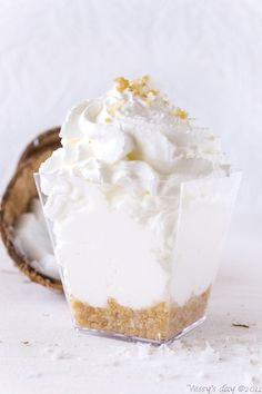 Coconut mousse crumble~ This stuff is smooth like butter! So yummy!