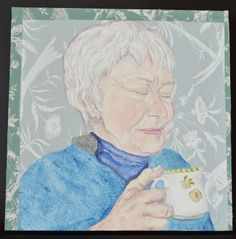Tea with Jo, Mixed Media, 14″ x 14″, March 2015