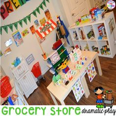 Grocery Store Dramatic Play for Preschool, Pre-k, and Kindergarten Kindergarten Freebies, Homeschool Kindergarten, Kindergarten Reading, Body Preschool, Preschool Activities, Preschool Centers, Preschool Writing, Health Activities, Kids Grocery Store