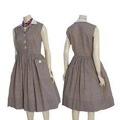 1950s Pin Up Vintage Dress Brown White Check Print Rockabilly Full Skirt  #SherryKentofDallas