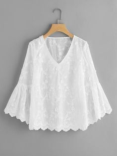 Material: Polyester Color: White Pattern Type: Plain, Embroidered Collar: V Neck Style: Cute, Elegant Type: Tunic Decoration: Ruffle Sleeve Length: Long Sleeve, Bell Sleeve Fabric: Fabric has no stretch Season: Spring, Fall Shoulder(Cm): Blouse Styles, Blouse Designs, Tops Bordados, Hijab Fashion, Fashion Dresses, Lace Top Dress, Plus Size Blouses, White Patterns, Blouses For Women