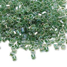 Seed bead, Delica®, glass, color-lined rainbow light lime, (DBLC0060),