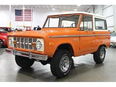 """Orange 1974 ford bronco - This was my dads..not mine?My sister and I used it to get to school. I drove it to band practice. Of all the vehicles I've driven, including """"right out of the showroom"""" cars..this Bronco is my favorite. Wish I had it now..or one like it."""