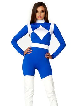 Everyone will gladly bow down and submit when you display your sultry super powers in our Dominance Sexy Superhero Costume. This comfy and flattering blue and white mock neck catsuit slims your waist with its matching belt. Superhero Costumes Female, Adult Costumes, Costumes For Women, Halloween Costumes, Halloween Ideas, Costumes 2015, Blue Costumes, Halloween 2017, Halloween Outfits