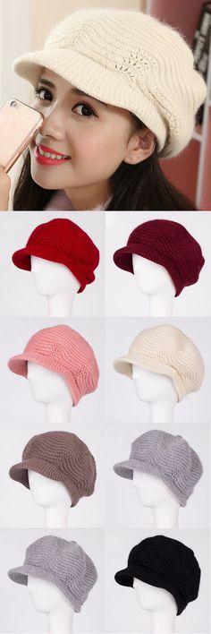 Wool Warm Newsboy Hat For Women Octagonal Cap Girl Knitted Beret Caps Women Casual Vintage Flat Hats