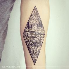 Sister mountains - Mount Rainier and Mount Fuji - for Bryan, his first tattoo.