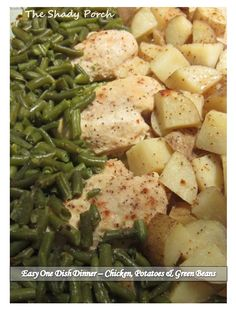 One Dish Dinner - Chicken, Potatoes & Green Beans bakes in 1 hour! #onedish #chicken #dinner