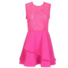 Choies Hot Pink Sheer Crochet Lace Panel Sleeveelss Layered Skater... ($30) ❤ liked on Polyvore featuring dresses, short dresses, платья, pink, hot pink dress, pink dress, mini dress, see through dress and layered dress