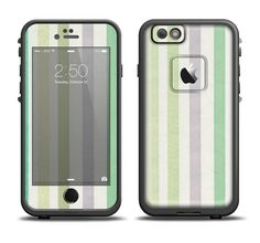 The Shades of Green Vertical Stripes Apple iPhone 6/6s Plus LifeProof Fre Case Skin Set from DesignSkinz