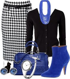 A fashion look from December 2012 featuring v neck cardigan, summer skirts and high heel boots. Browse and shop related looks. Classy Outfits, Chic Outfits, Fall Outfits, Fashion Outfits, Womens Fashion, Office Fashion, Work Fashion, Houndstooth Skirt, Elegantes Outfit