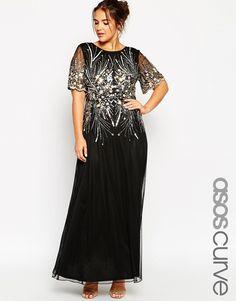 Image 1 ofASOS CURVE RED CARPET Gold & Black Sparkle Mesh Maxi Dress