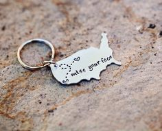 """NEW LARGER USA Keychain 1.5"""" x 1"""" - Best Friend Gift - Couples Long Distance Gift With Personalized Message"""