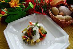 warzywa gotowane na parze z sosem czosnkowym