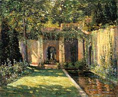 """""""The Garden,"""" Ernest Lawson, 1914, oil on canvas, 20 x 24"""", Memorial Art Gallery of the University of Rochester."""