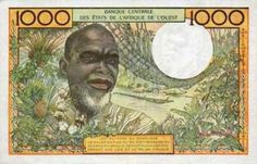 Francs 's Banknote (Back) Date: 1965 African States, African Men, Timbre Collection, Over The River, Guinea Bissau, Ivory Coast, East Africa, Ivoire, Male Face