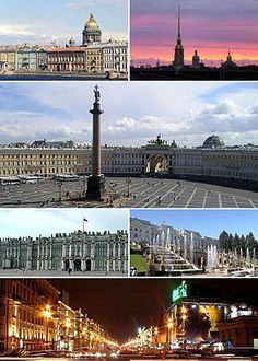 Clockwise from top left: Saint Isaac's Cathedral rises over the city, Peter and Paul Fortress on Zayachy Island, Palace Square with the Alexander Column, Petergof, Nevsky Prospekt, and the Winter Palace