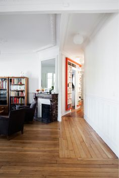 From Houzz: Hallway library in French home... gorgeous floors!