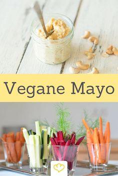 Diese vegane Mayonnaise kommt ganz ohne tierische Produkte aus. Stattdessen sorgen Cashewkerne für leckere Cremigkeit! #vegan #whatveganseat