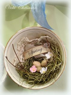 Hanging Spring Tea Cup with Nest by Vicki Chrisman