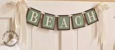 Primitive BEACH BANNER GARLAND tdipt wall hanging wall sign word art. $26.00, via Etsy.