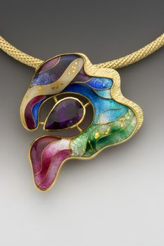 Anna Tei: Waves Enamel, 18k, 22k, and 24k gold, fine silver, and amethyst. One-of-a-kind.