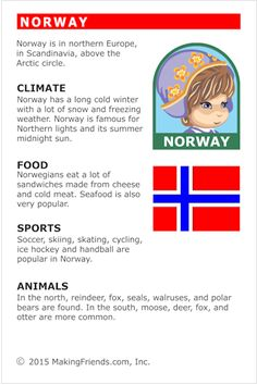MakingFriends Facts about Norway Printable Thinking Day fact card for our passports. Perfect if you chose Norway for your Girl Scout Thinking Day or International Night celebration. Teaching Geography, World Geography, Norway Facts, Continents And Countries, Around The World Theme, English Activities, Multicultural Activities, Middle School History, World Thinking Day