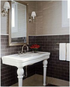 The gray subway tile is divine. Mark Williams Design Assoc. #bathroom #tile