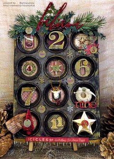 Advent calendar made from a vintage tart tin by Yaya Scrap using Tim Holtz Idea-ology ephemera, love it!