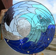 stained glass beach scenes   Cresting Ocean Wave Stained Glass Window Panel