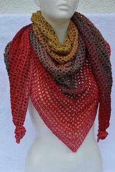 Häkel Tuch rot grau ocker - Handgemachte Sachen Bunt, Detail, Crochet, Handmade, Accessories, Color, Women, Fashion, Man Scarf