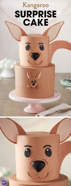 This adorable Kangaroo Surprise Cake is ready for a hoppin' good time! A great cake for Mother's Day or a baby shower, this two-tier cake features a little joey popping out of mom's pouch to say hello (Simple Baking Sweet) Cake Cookies, Cupcake Cakes, Cakes With Fondant, Simple Fondant Cake, Simple Cakes, Cake Fondant, 3d Cakes, Baking Cookies, Plated Desserts