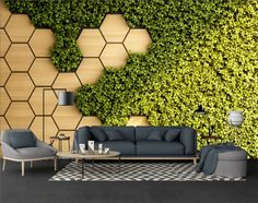 3D Look Honeycomb Pattern and Fresh Grass Wallpaper Mural