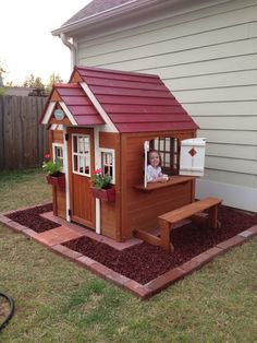 Woodworking For Kids Playhouse idea! Had so much fun doing it!: - Got a call from your kids. They said they want a playhouse in the back yard. I know, you're thinking Backyard Playhouse, Build A Playhouse, Playhouse Ideas, Pallet Playhouse, Outdoor Playhouses, Kids Outside Playhouse, Wooden Outdoor Playhouse, Painted Playhouse, Playhouse Windows