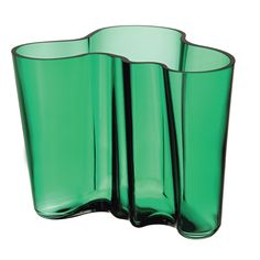 Features:  -Mouth blown glass.  -Hand wash only.  -Alvar Aalto collection.  Product Type: -Table vase.  Shape: -Novelty.  Color: -Emerald Green.  Primary Material: -Glass. Dimensions:  Overall Height