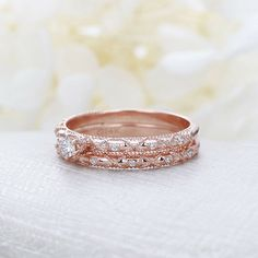 IGI Certified 0.78 Ct Round Diamond Engagement Band Set Solid 18K Rose Gold 7 8 #Handmade