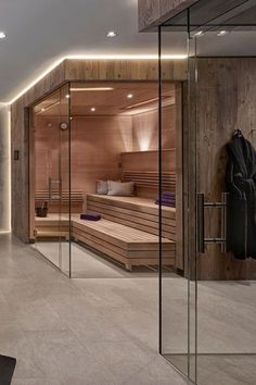 Home Design Ideas: Home Decorating Ideas Bathroom Home Decorating Ideas Bathroom Sauna and shower with real glass partition Home Spa Room, Spa Rooms, Sauna Steam Room, Sauna Room, Saunas, Modern House Design, Home Design, Design Ideas, App Design