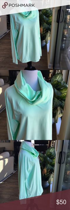 Lululemon Healthy Heart Pull Over with Cowl Neck Pre-owned Lululemon Healthy Heart Pull Over with Cowl Neck  •Size 12 or XL  •Running Luon  •Color: Fresh Teal  •Elastic bottom  •Pin hole in the front of the shirt - see photos  •No stains  •Nonsmoking Home lululemon athletica Tops Tees - Long Sleeve