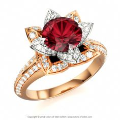 LOTUS FLOWER ROYAL | Designer Engagement Ring with Ruby and Diamond si/H in 18k Rose Gold and 14k White Gold