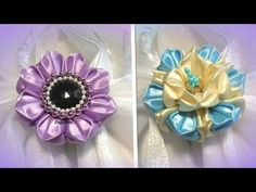 DIY for GIRLS/How to/Kanzashi flower Tutorial/Ribbon flower/Flor de cinta/MK/канзаши: bricoart.kam - YouTube