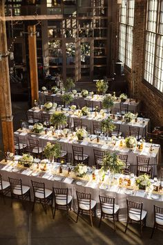 //A beautiful set up at Steam Whistle Brewery// Photography: Root Photography - http://rootweddings.com  Read More: http://www.stylemepretty.com/canada-weddings/2014/02/06/steam-whistle-brewery-wedding/