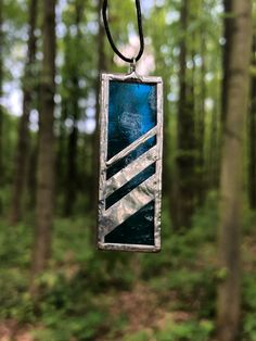 Stained glass blue pendant with ornaments made of copper foil. Made with care and detail by a studied stained glass artist. Glass Jewelry, Unique Jewelry, How To Make Ornaments, Stained Glass, Copper, Handmade Gifts, Christmas Ornaments, Detail, Pendant