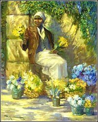 "John Carroll Doyle, American Impressionist - Charleston Artist - ""Flowers for Sale"""