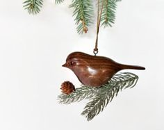 Rustic bird Christmas tree ornament, hand carved wooden decoration