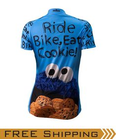 C is for .. Cycling? Here at Brainstorm Gear, we're ecstatic about our partnership with Sesame Workshop!  You'll eat the miles up in this fantastic new performance jersey featuring everyone's favorite furry blue monster. Om nom nom nom... Available in Men's & Women's sizes.  Questions about the fit? We recommend you buy one size up from your usual t-shirt size.