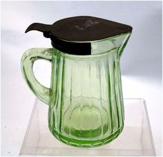 1930's Hocking  Green Vaseline Depression Glass Syrup Pitcher